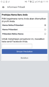 Cara ganti nama facebook limit